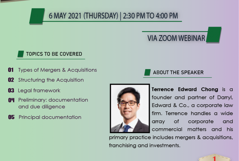 Introduction To Mergers & Acquisitions On 6 May 2021