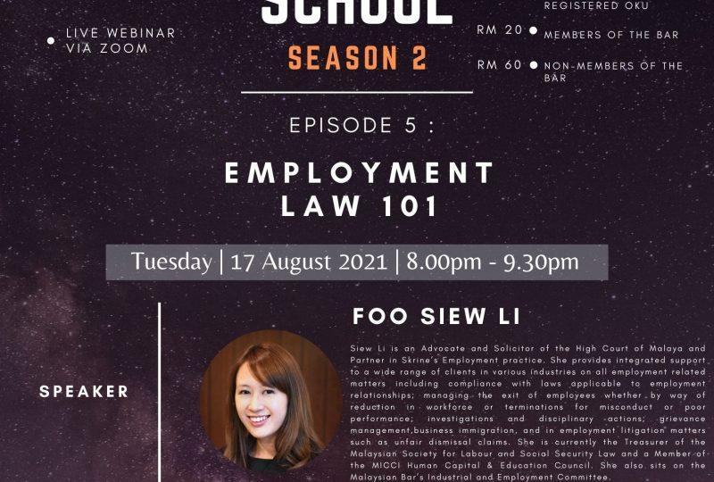 YLC Night School Season 2 : Episode 5 – Employment Law 101 on 17 August 2021