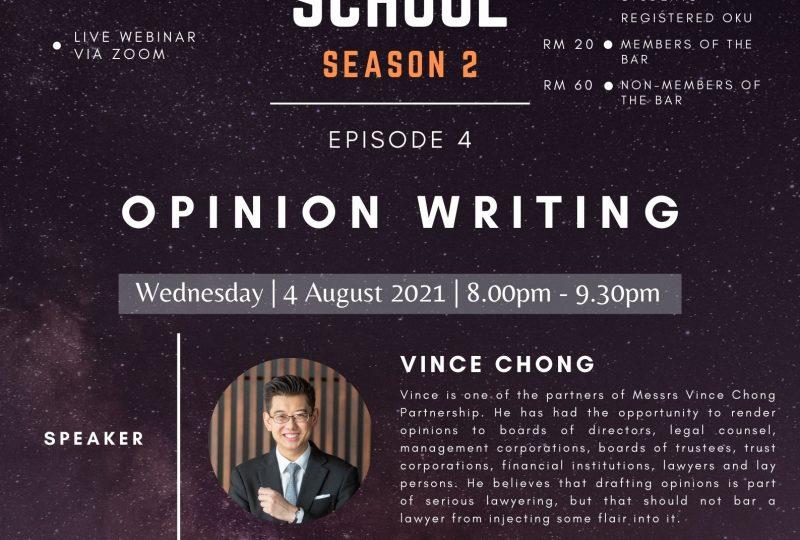 YLC Night School Season 2 : Episode 4  – Opinion Writing on 4 August 2021