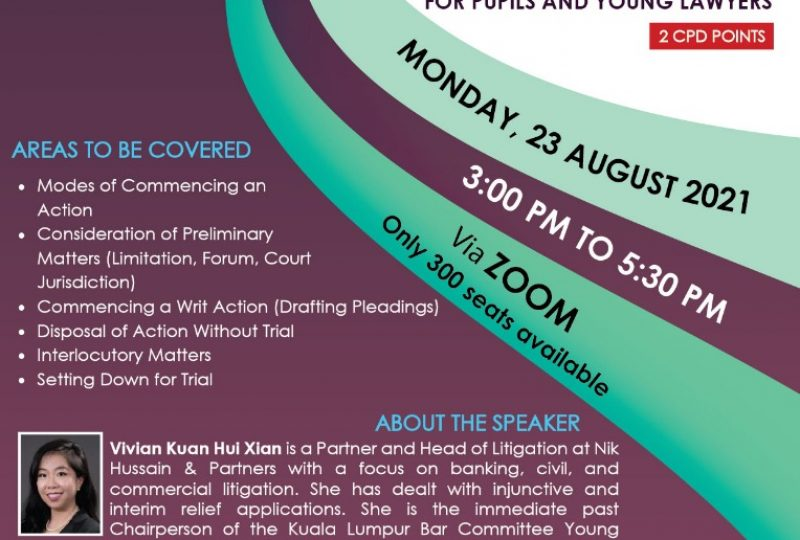 The Basics Of Civil Litigation For Pupils And Young Lawyers on 23 August 2021