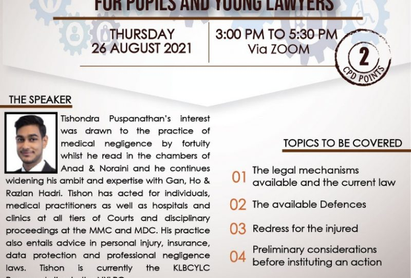 Fundamentals And Principles Of Medico-Legal Disputes For Pupils And Young Lawyers on 26 August 2021