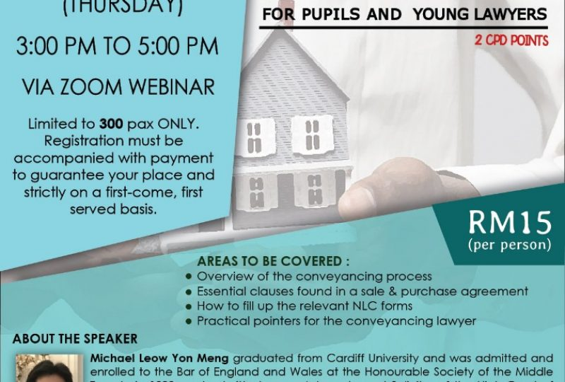 The Basics Of Conveyancing For Pupils And Young Lawyers on 23 September 2021